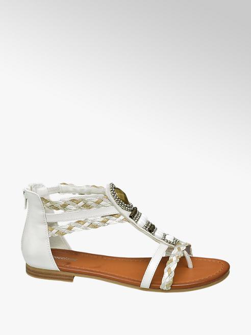 Graceland Witte sandaal geweven bandjes