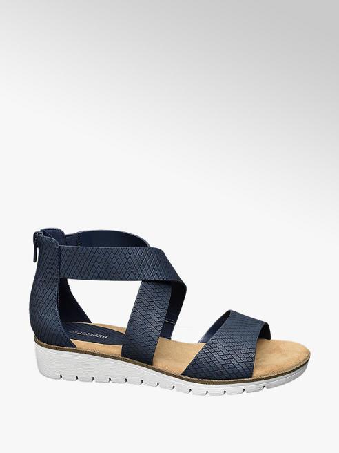 Graceland Donkerblauwe sandaal met wafelprint