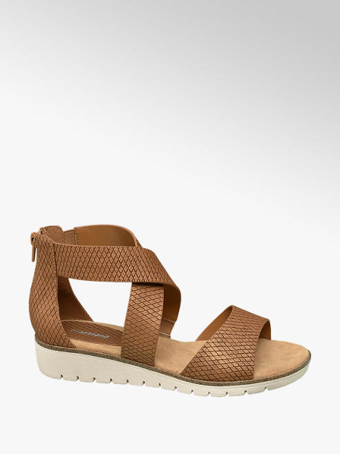 Graceland Cognac sandaal met wafelprint