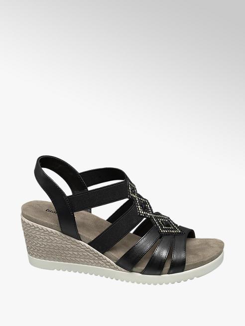 Graceland Zwarte sandalette strass