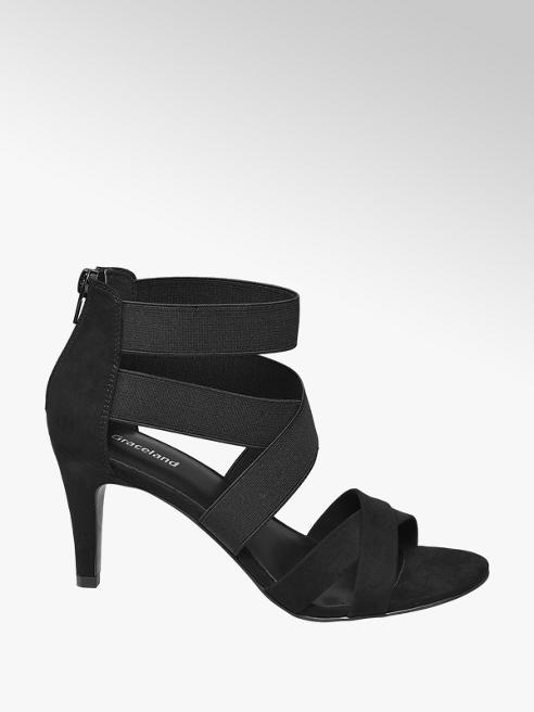 Graceland Zwarte sandalette elastieken banden