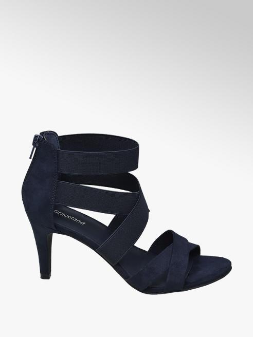 Graceland Donkerblauwe sandalette elastieken banden