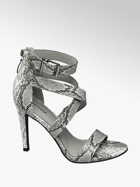 Graceland Grijze sandalette slangenprint