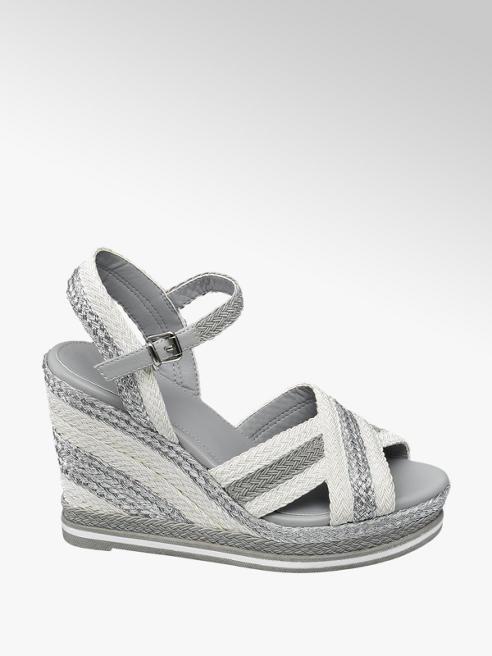 Graceland wit/zilveren sandalette sleehak