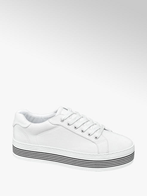 Graceland Witte canvas sneaker plateauzool