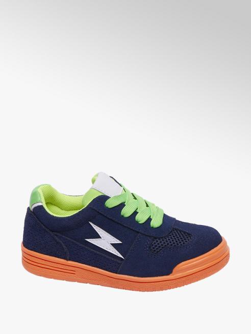 Bobbi-Shoes Blauwe suède sneaker vetersluiting