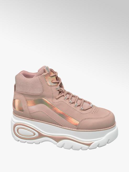 Graceland Roze halfhoge sneaker plateauzool
