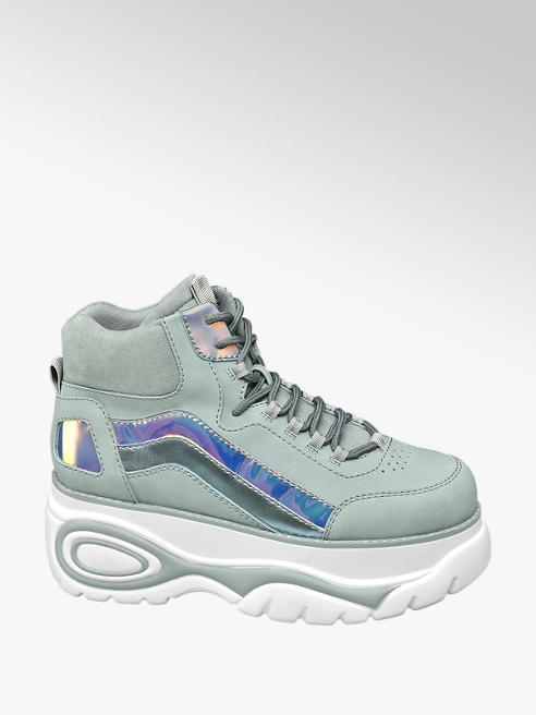 Graceland Mint halfhoge sneaker plateauzool/Witte halfhoge sneaker plateauzool