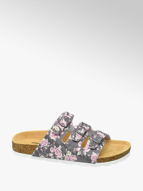 Graceland Grijze slipper bloemen