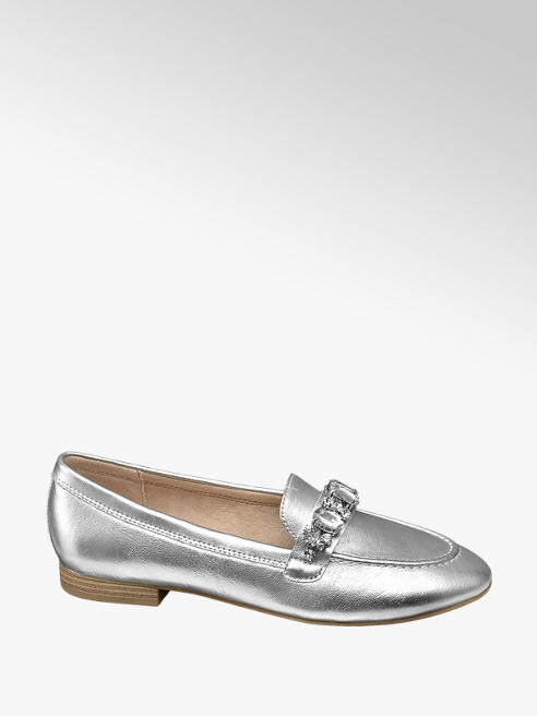 Graceland Zilveren metallic loafer stenen
