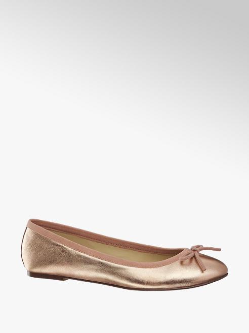 5th Avenue Rosé gouden leren ballerina strik