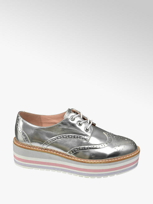 Graceland Zilveren metallic veterschoen plateauzool