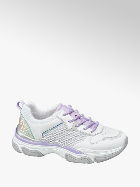 Graceland Witte chunky sneaker paarse accenten