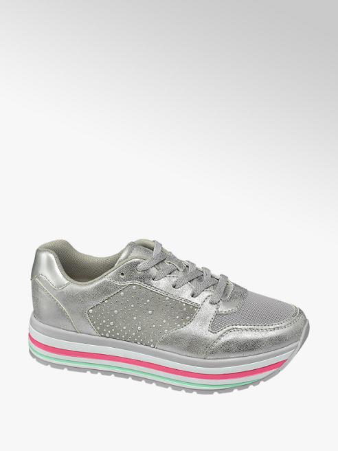 Graceland Zilveren metallic sneaker plateauzool