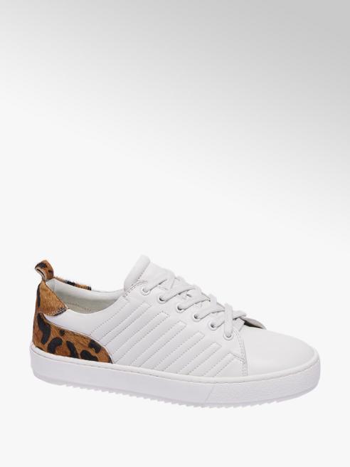 5th Avenue Witte leren sneaker leopard