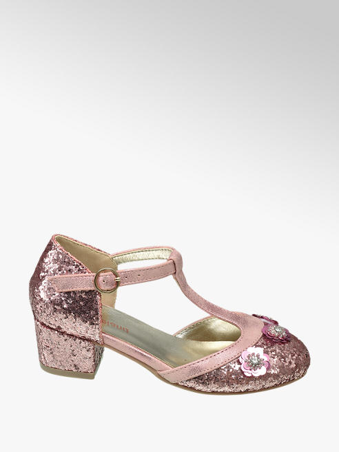 Graceland Junior Girl Pink Glitter Block Heel T-Bar Party Shoes