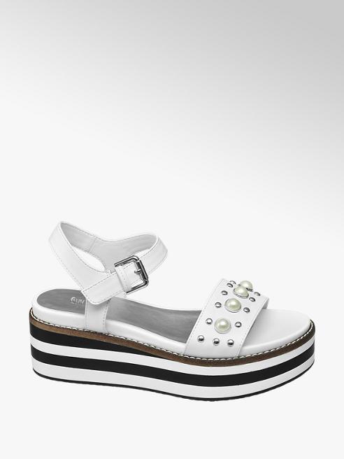 Graceland Witte sandalette parels
