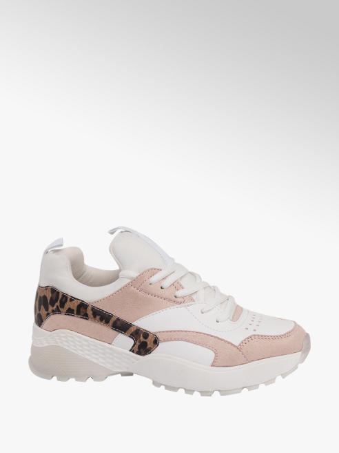 Catwalk Ladies Leopard Print Detail Chunky White and pink  Trainer