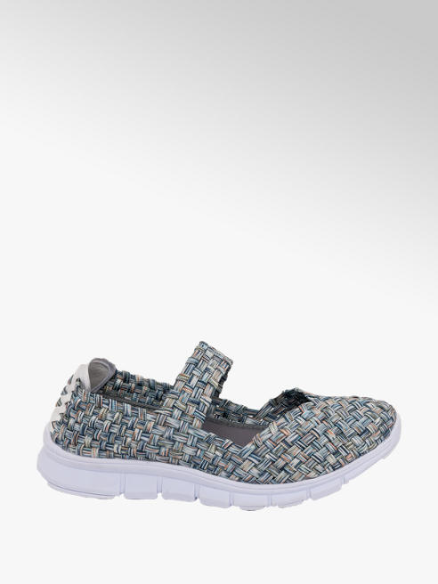 Vty Ladies Blue/Green Casual Slip-on Trainers