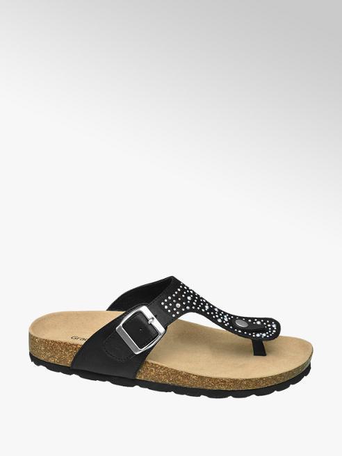 Graceland Zwarte slipper strass