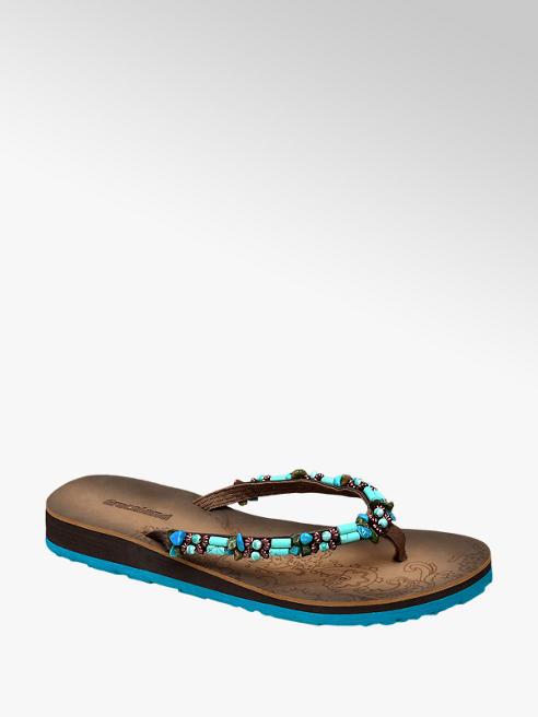 Graceland Bruin/turquoise teenslipper kralen