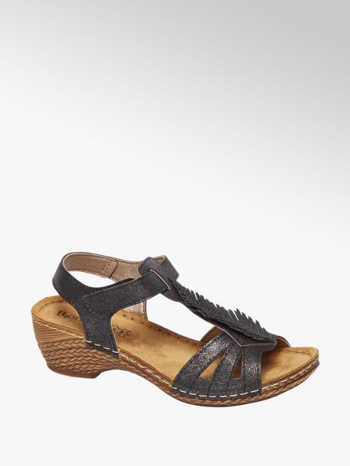 Björndal Zwart metallic sandaal veer