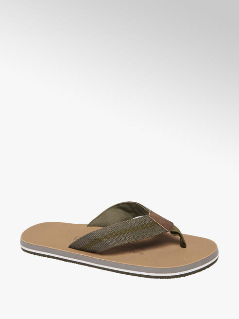 Blue Fin Groene canvas teenslipper