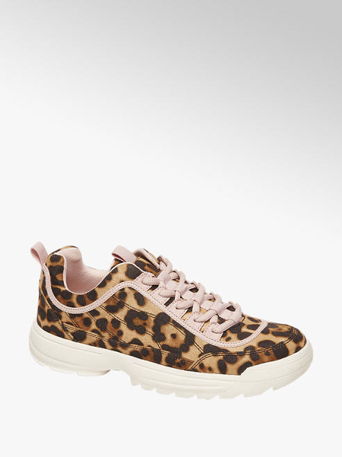 Venice Bruine chunky sneaker panterprint