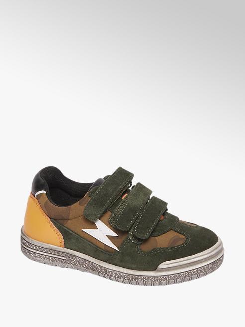 Bobbi-Shoes Groene leren sneaker klittenbandsluiting
