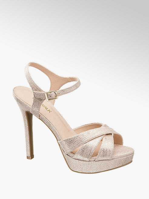 Catwalk Rose Gold Strappy Platform High Heels