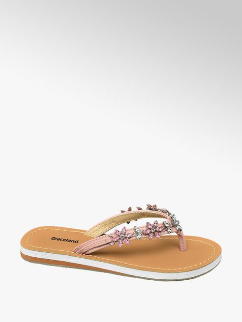Graceland Roze slipper bloemen