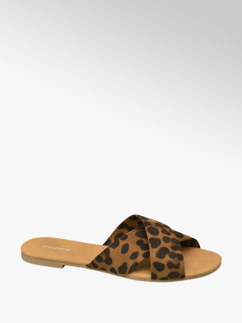 Graceland Ciabatta marrone leopardata