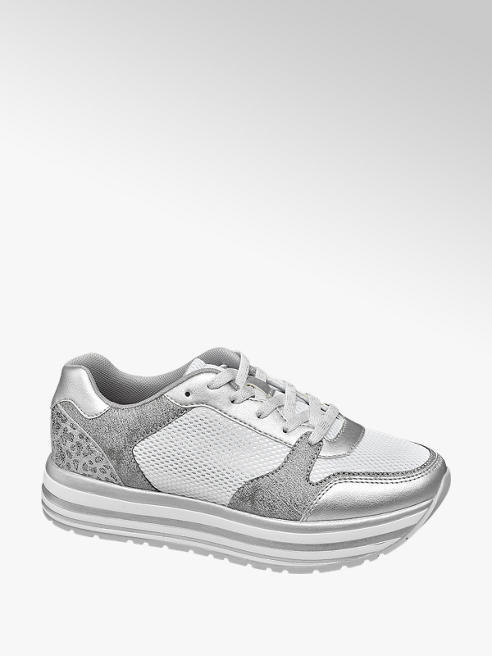 Graceland Zilver-lichtgrijze sneaker plateau