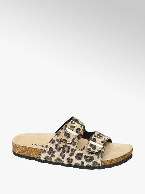 Graceland Leopárd mintás csatos papucs