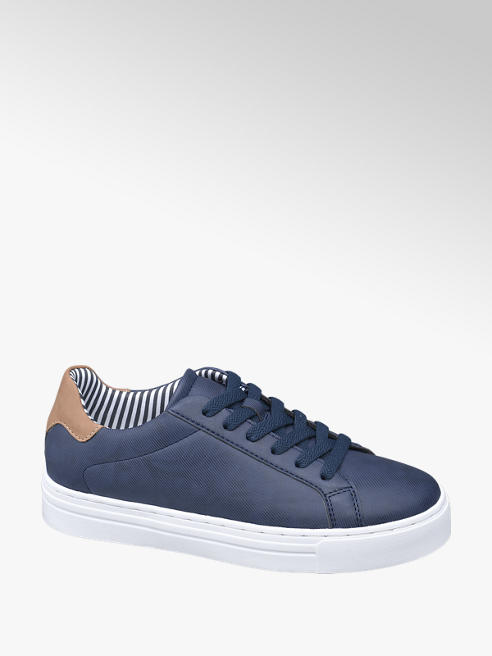 Graceland Donkerblauwe sneaker cognac detail
