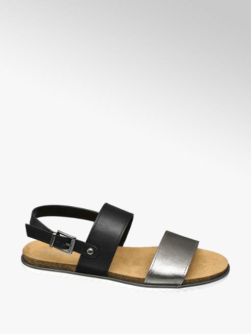 Graceland Zwart/zilveren sandaal