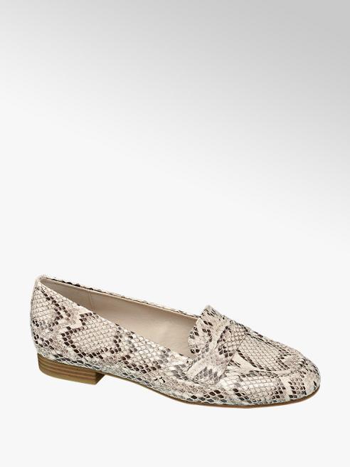 Graceland Beige slangenprint loafer