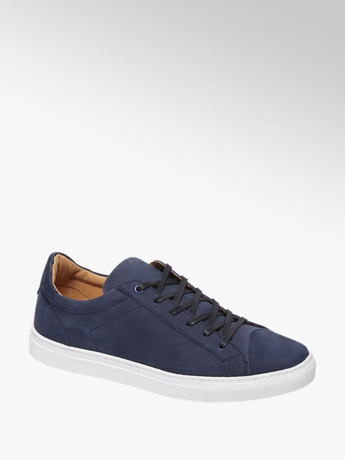 AM shoe Blauwe nubuck sneaker vetersluiting