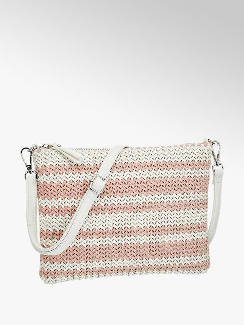 Graceland Wit/roze schoudertas gevlochten