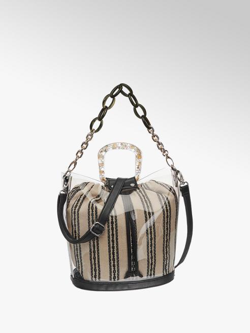 Graceland Zwart/witte schoudertas gestreept