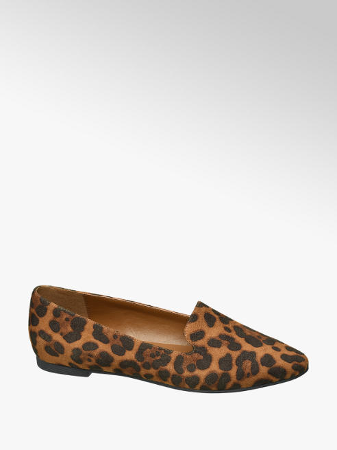 Graceland Donkerbeige loafer leopard