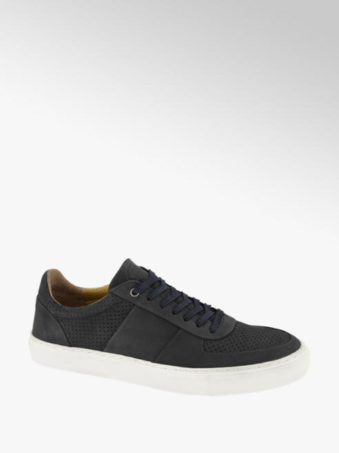 AM shoe Blauwe leren sneaker vetersluiting