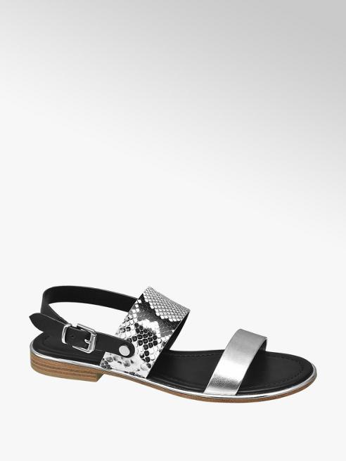 Graceland Zwarte sandaal slangenprint