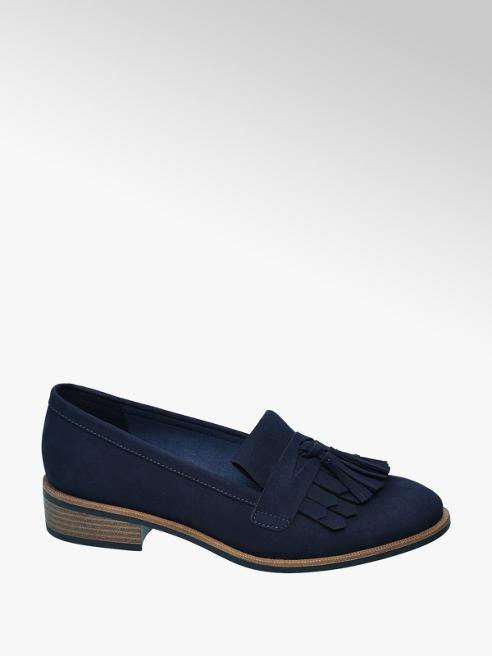 Graceland Donkerblauwe loafer sierkwastjes