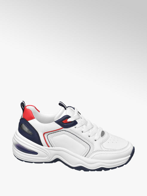 Graceland Wit/blauwe chunky sneaker