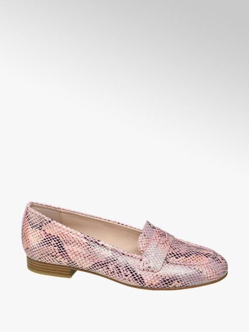 Graceland Roze slangenprint loafer