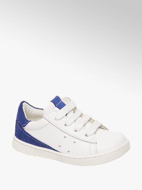 Bobbi-Shoes Witte leren sneaker vetersluiting