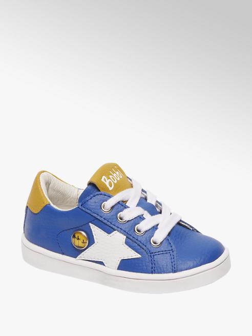 Bobbi-Shoes Blauwe leren sneaker vetersluiting