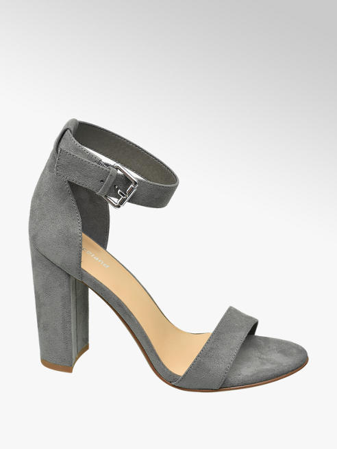 Graceland Grey Block Heeled Sandals