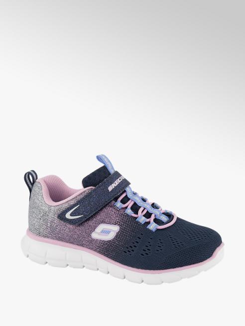 Skechers Donkerblauwe glitter sneaker klittenband